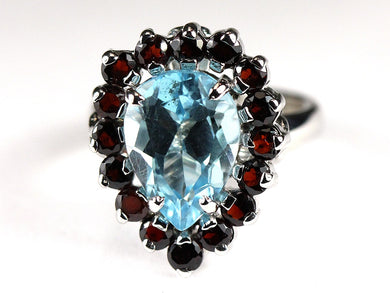 Sterling Silver Topaz and Garnet Cocktail Ring