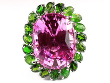 Oval faceted Syn Pink Topaz surrounded by Green Diopside a very Pretty Ring!