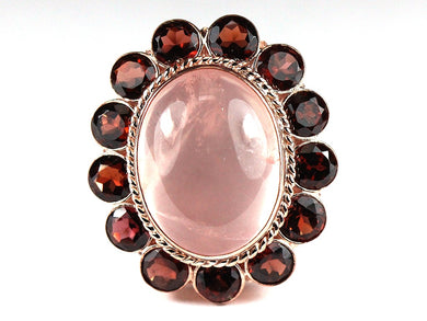 Rose Gold Cabochon Rose Quartz and Garnet Cocktail Ring