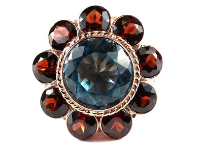 Sterling Silver Blue Spinel, Quartz and Garnets Cocktail Ring