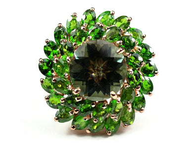 Extra Large Faceted round Green Citrine Ring surrounded by Diopside