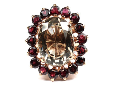 Super large Exquisite cherry faceted  Topaz  Ring surrounded by Garnet