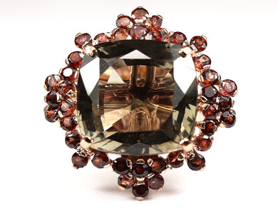 Super Large Distinct cushion cut Smokey Quartz Ring surrounded by orange red garnet Ring