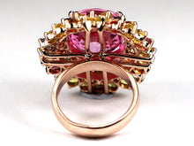 Sterling Silver Rose Gold Plate Assorted Sapphire and Pink Topaz Cocktail Ring