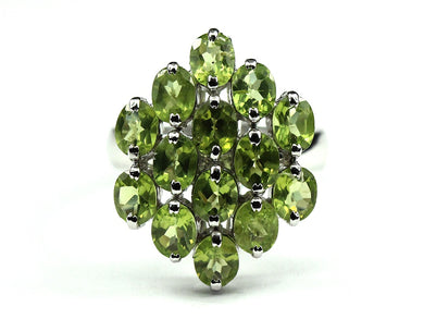 Sterling Silver Peridot Cluster Cocktail Ring