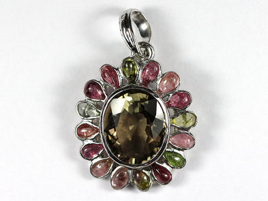 Sterling Silver Facated Smokey Quartz and Watermelon Tourmaline Pendant