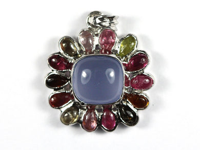 Demure Blue Chalendony Sqaure cabochon Pendant surrounded by teardrops of  Tourmaline
