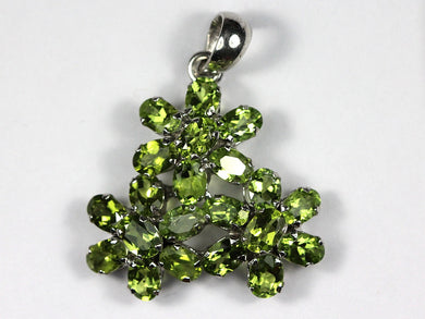 Sterling Silver Peridot Daisy Cluster Pendant