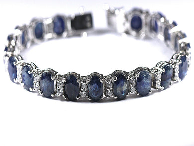 Sterling Silver Cubic Zirconia and Natural Sapphire Bracelet