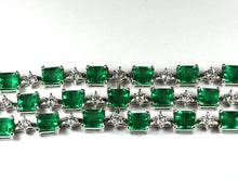 Contemporary Sterling Silver Bracelet with Green Crystal and Cubic Zirconia