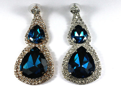 Large Teale Blue Crystal  Clipon Earrings with CZ