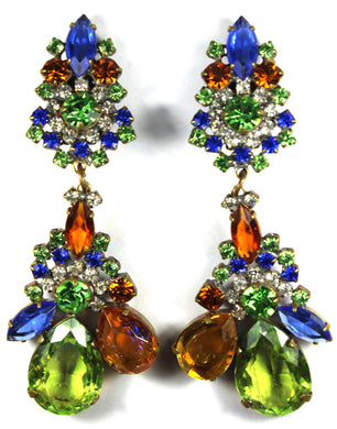 Large Peridot Blue Orange Coloured Crystal Drop Clip on Earrings