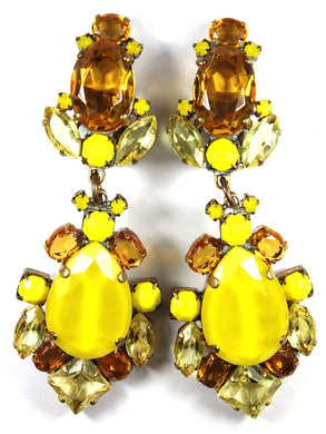 Large Canary Yellow and Orange Coloured Crystal Drop Clip on Earrings