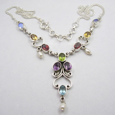 Sterling Silver Amethyst, Blue Topaz, Citrine, Garnet, Moonstone, Pearl and Peridot Necklace