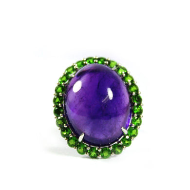 9ct White Gold 54.69ct Cabochon Amethyst and Tsavorite Garnet Cocktail Ring