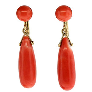 Vintage 14ct Yellow Gold Natural Momo Coral Drop Screw On Earrings