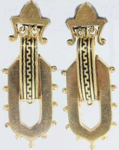12ct Yellow Gold Black Enamel Etruscan Style Drop Earrings