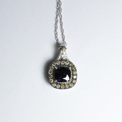 18ct White Gold Natural Sapphire and Diamond Pendant