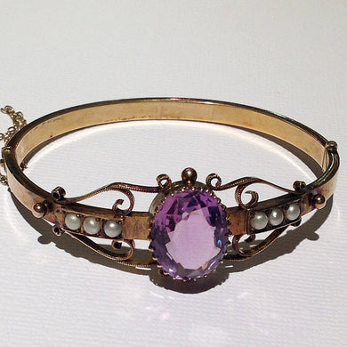Antique 9ct Yellow Gold Amethyst and Seed Pearl Hinged Bangle