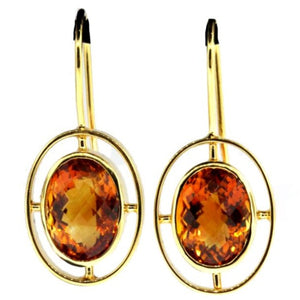 9ct Yellow Gold Geometric Madeira Citrine Drop Earrings