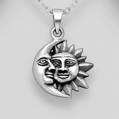 Sterling Silver Crescent Moon and Sun Pendant