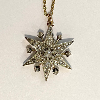 Antique 18ct White Gold Old Cut Diamond Starburst Pendant