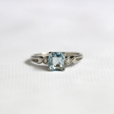 9ct White Gold 1.53ct Aquamarine and Diamond Ring