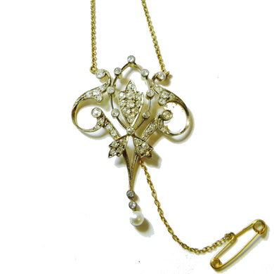 Antique 18ct Yellow Gold Diamond and Pearl Belle Epoque Necklace