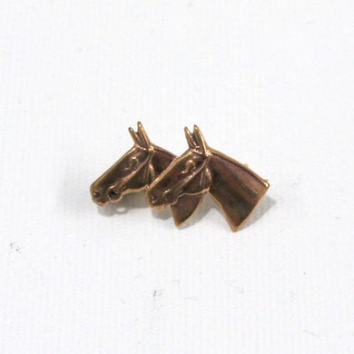 Small Brass Twin Horse Brooch
