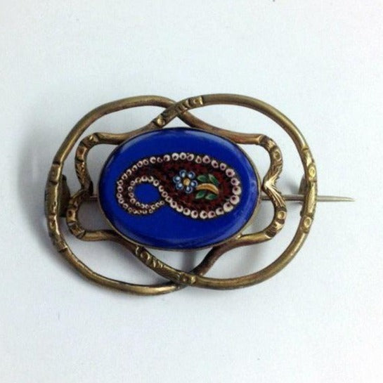 Antique Pinch Back Blue Paisley Micro Mosaic Brooch