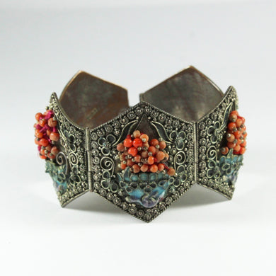 Antique Sterling Silver Coral and Enamel Cuff Bracelet