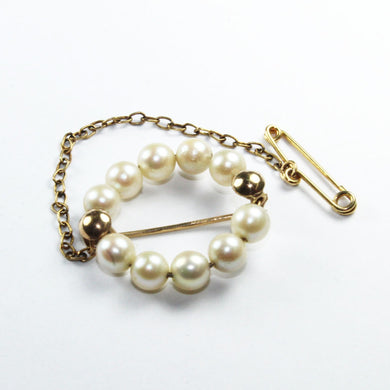 Vintage 9ct Yellow Gold Cultured Pearl Wreath Brooch