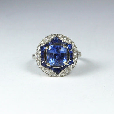 9ct White Gold 3.65ct Ceylon Sapphire and Diamond Cocktail Ring