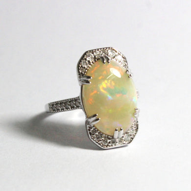 18ct White Gold 5.24ct Solid White Opal and Diamond Dress Ring
