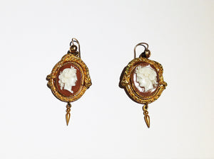Early Victorian Cameo Earrings pinch back gold