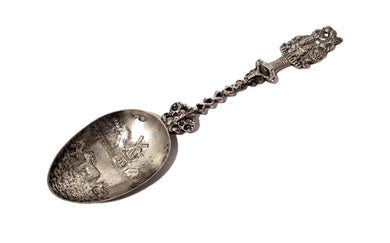 Silver Decorative Spoon, Family Portrait Shaped Handle