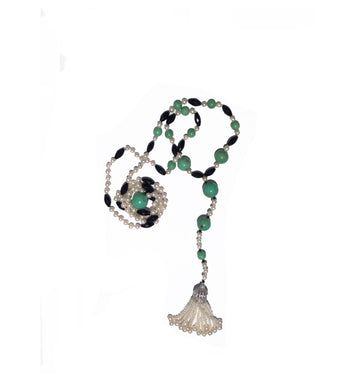 Natural Chrysoprase, Cultured Pearl and Black Spinel Lariat Necklace