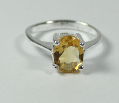 Small Sterling Silver Oval Cut Citrine Ring