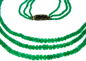Graduated 3 Strand Faceted Natural Columbian Emerald Necklace