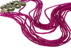 Natural Pink Ruby 6-strand Vintage Clasp Necklace
