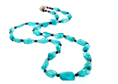Rough Cut Natural Apatite and Garnet Necklace