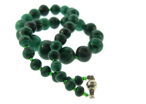 Natural Graduated Malachite Beads and Glass Necklace