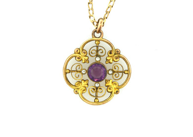 Edwardian Amethyst Seed Pearl Clover Shaped pendant
