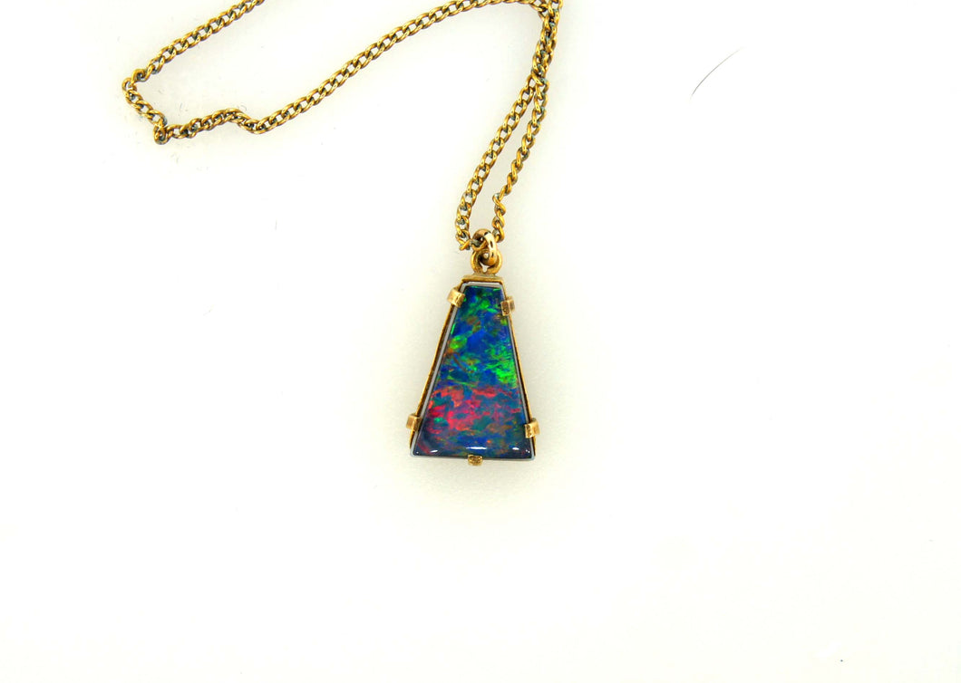 Triangle Opal Doublet Gold Plate Pendant
