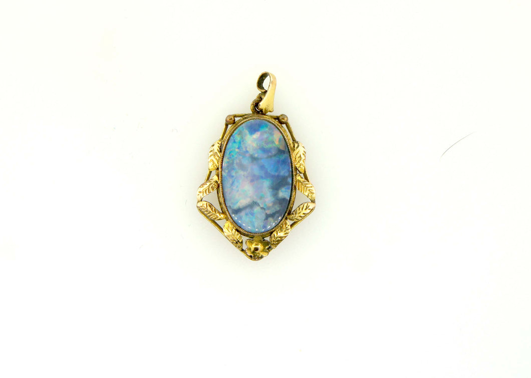 Large Oval Antique Opal Doublet Pendant