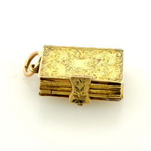 Antique RARE 18ct Yellow Gold Engraved Book Locket