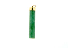 Solid Jade Cylindical Drop Gold
