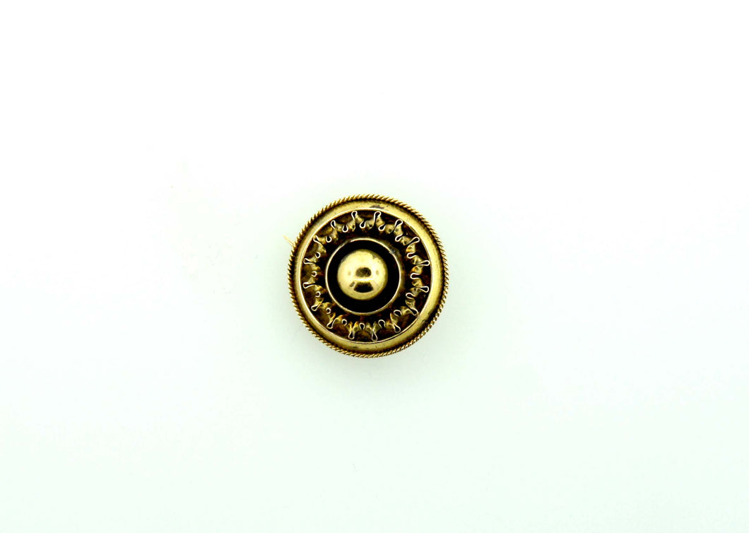 Victorian Mourning Round Gold Pin