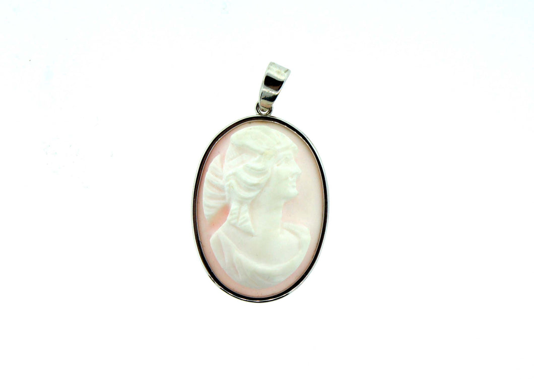 Pink Conch Shell Cameo S.silver Pendant