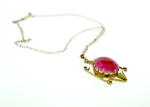 Pink Paste 9ct Gold Oval Drop and Chain